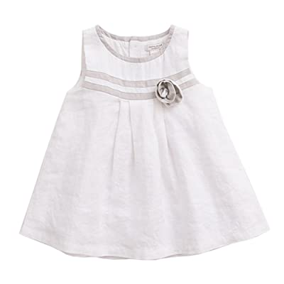 marc janie Baby Girls' Linen Floral Pleated A Line Dress