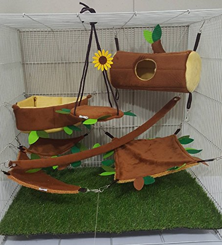HOT! 7 Pcs/Set Cute Sugar Glider Hamster Marmoset Squirrel Chinchillas Small Pet Hanging Log + Edge Corner Light Brown Cage Set Forest Pattern Get Free 1 Small Pet Treats, PB's REPUBLIX - Wipe Out 1 Cage