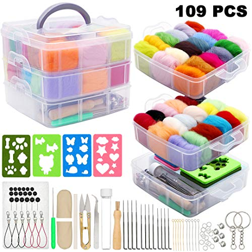Needle Felting Kit 109Pcs Set, WEST BAY Wool Roving 36 Colors with Complete Felt Tools and Storage Box Needle Felting Starter Kit for DIY Craft Animal Home Decoration New Year Gift