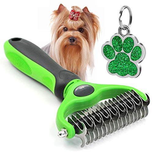 The Bestseller Pet Grooming Comb – Dematting, Deshedding Detangler Tool for Dogs & Cats Dual Head 17 + 9 Teeth Green ()