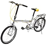 Folding Light weight Bike, 20 inch, 6 Speed Bicycle,Sliver By Gracelove