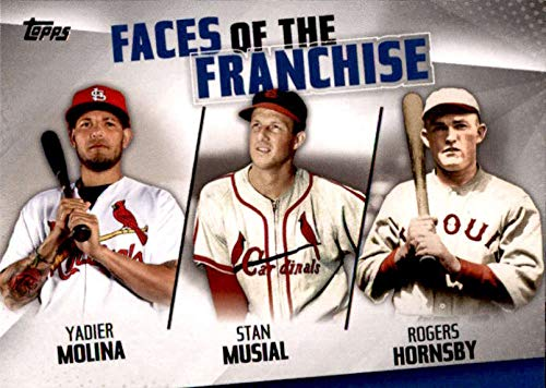 (2019 Topps Faces of the Franchise Trios #FOF-27 Rogers Hornsby/Yadier Molina/Stan Musial St. Louis Cardinals Baseball Card)