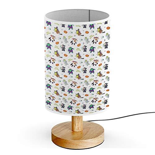 ARTSYLAMP - Wood Base Decoration Desk Table Bedside Light Lamp [ Doodle Happy Halloween Cartoon ] -