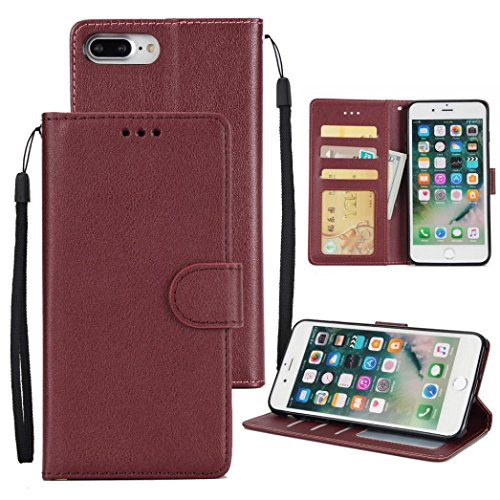 Mchoice Flip Magnetic Card Wallet Leather Case Stand Cover for iPhone 8 Plus 5.5 Inch (Wine)