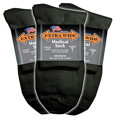 - Extra Wide Black Mens Medical (Diabetic) Quarter (Anklet) Sock 3PK - Size 8-11 Up to 6E, Antimicrobial, Made in USA!