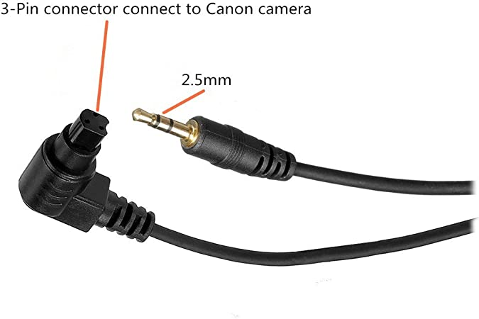 GFSHOP Camera Shutter Connecting Cable Cord 3.5mm-E3 for Pixel Shutter Remote Control TW283-Series Compatible with Canon Rebel PowerShot Pentax Samsung Sigma