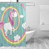 Cute Pink Shower Curtains ZOEO Teal Unicorn Shower Curtain Cute Pink Horse Rainbow Magic Dream Twinkle Star Bathroom Tub Curtain Set Fabric Bridal 12 Hooks Waterproof for Kids 60x72 Inch