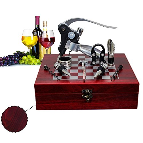 JHDLY bottle opener set with chess,Red Wine Beer Bottle Opener Wine Opener Kit 9 pieces Accessories Professional Stainless Steel Red Wine Cork Bottle Corkscrew Gift Set With - Set Steel Stainless Chess