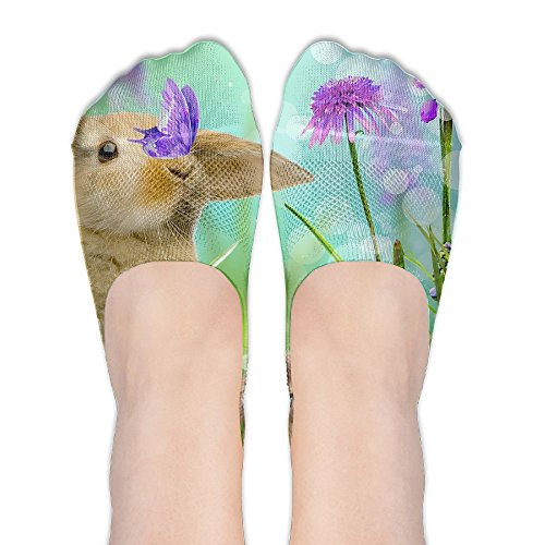 (Rabbit With Flower DIY Printed Pattern Comfortable Low Cut Socks No-show Liner Invisible Polyester Cotton Sock For Ladies (One)
