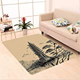 Nalahome Custom carpet Stone Tiered Tower Vintage Style Taoist House Of Faith Historical Illustration Pale Brown Black area rugs for Living Dining Room Bedroom Hallway Office Carpet (5' X 7')