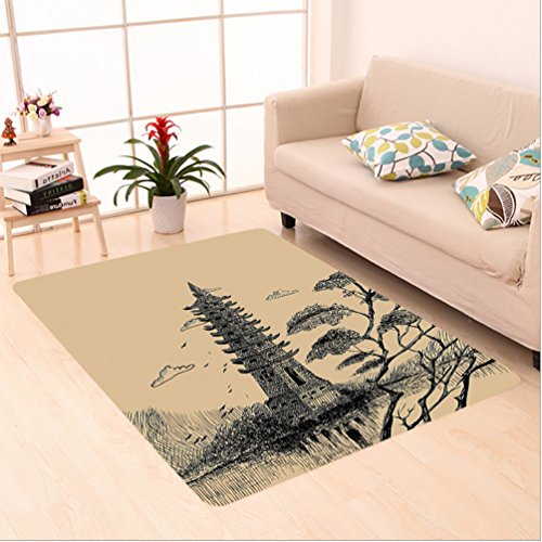 Nalahome Custom carpet Stone Tiered Tower Vintage Style Taoist House Of Faith Historical Illustration Pale Brown Black area rugs for Living Dining Room Bedroom Hallway Office Carpet (5' X 7') by Nalahome
