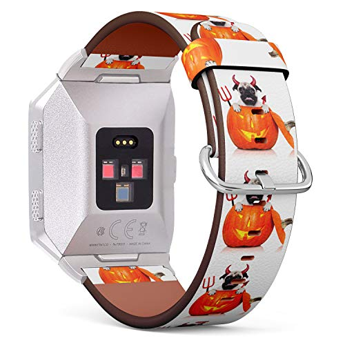(Funny Pug Costume Demon Sitting in Pumpkin) Patterned Leather Wristband Strap for Fitbit Ionic,The Replacement of Fitbit Ionic smartwatch -