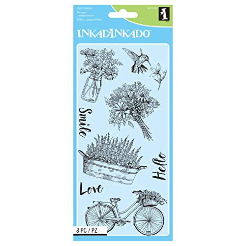 - Inkadinkado Spring Time Flowers Unmounted Clear Rubber Stamp Set for Cards and Scrapbooking, 8pc