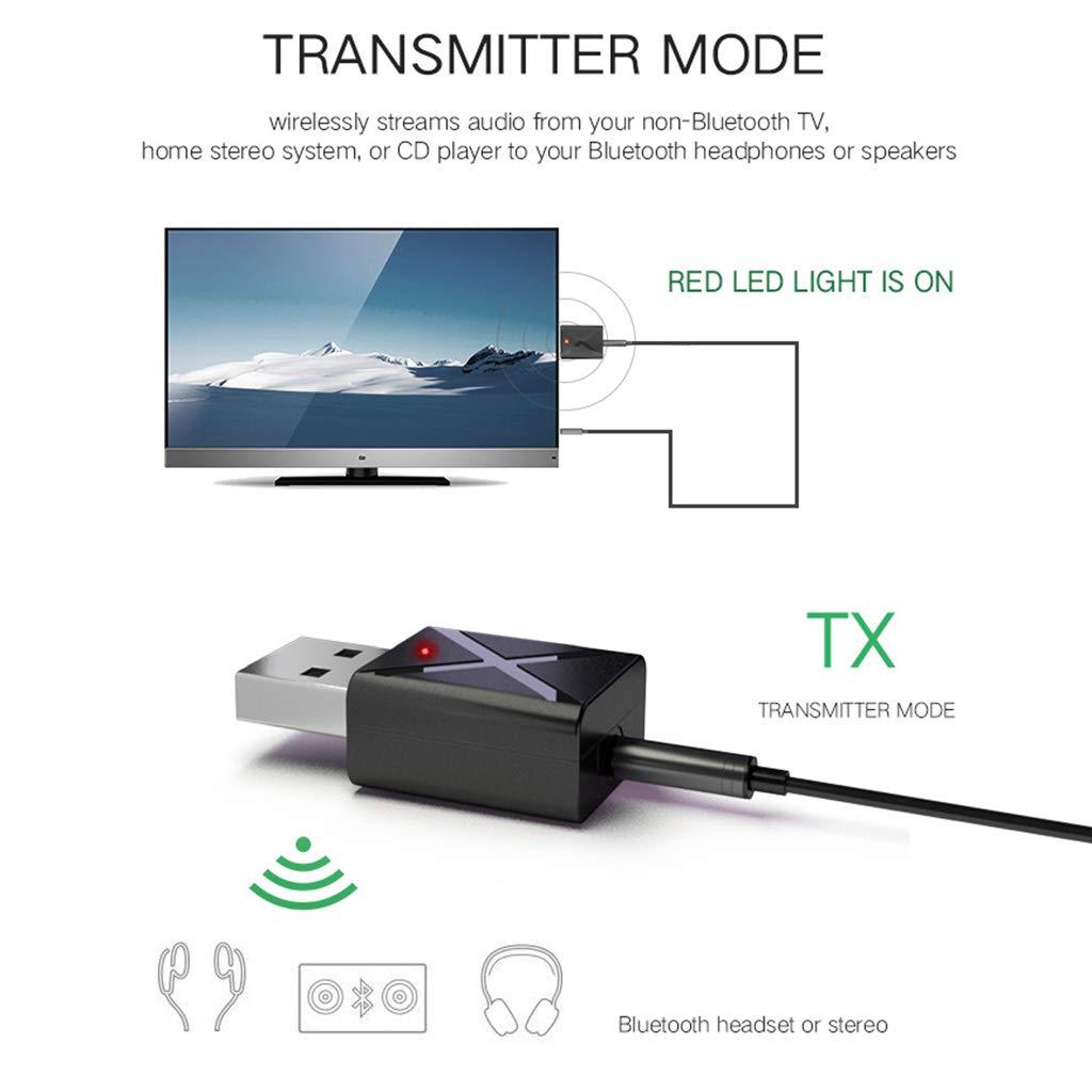 TOOGOO Mini Bluetooth 5.0 Ricevitore Audio Trasmettitore 3,5mm Adattatore Aux Wireless per Auto Pc TV Speaker Cuffia USB Power