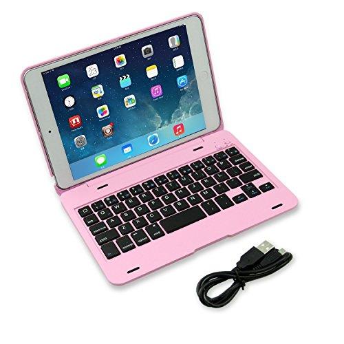 DAXXIS iPad Mini 4 Wireless Bluetooth Keyboard Case, Ultra-Slim Aluminum Folio Smart Clamshell Stand Case for Apple iPad Mini 4 (Pink) by DAXXIS