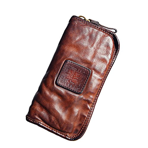 (Vintage Genuine Leather Cowhide Mens Long Zipper Wallet Purse Clutch Bag Card Holder (Brown))