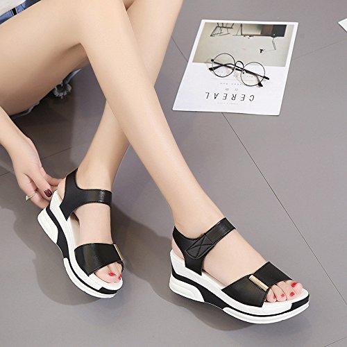 Mujer Sandalias Plataforma, Culater Zapatos de Polipiel Verano Open Toe Negro