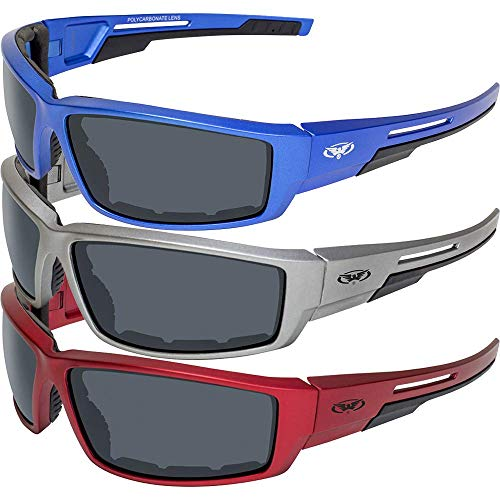 3 Pair Global Vision Sly Motorcycle ATV Padded Riding Glasses Sunglasses with Smoke Lenses and Red, Blue and Grey Metallic -