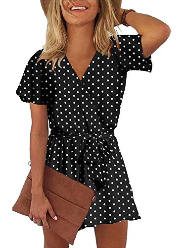 (REORIA Womens Casual Summer One Piece Ruffles Short Sleeve V Neck Tie Front Belted Wrap Playsuits Short Jumpsuit Beach Rompers Polka Dot Black Medium)