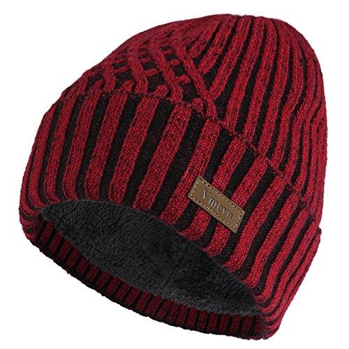 (GLOUE Vmevo Wool Cuffed Beanie Hat Warm Winter Knit Hats Unisex Skull Cap with Lining )