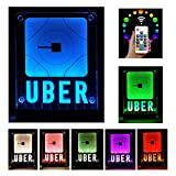 Uber Sign, LED Logo Light,Decal Glow Accessories, Wireless Control,Remote Intelligent Control 16 Glowing Colors 4 Control Modes, Uber Lyft Sign Light Up Sticker For Car,30M Wide signal coverage