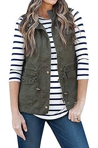 Gilet Smanicato Outerwear Fashion Chic Primaverile Cute Tasche Donna Con Casual Giubbino Mieuid Monocromo Jacket Sciolto Grüne Autunno Zip Ufq5c6W1