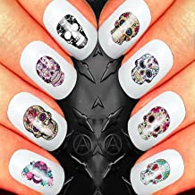 SUGAR SKULL ASSORTMENT ONE #1 NAIL ART SET STICKERS DECALS WATER TRANSFERS. USE WITH NATURAL GEL ACRYLIC