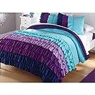 2pc Girl Teal Purple Blue Ruffle Twin Comforter Set