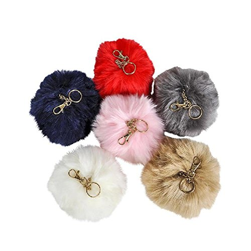 6'' Jumbo Furry Pom Pom Clip-On Keychains by Bargain World