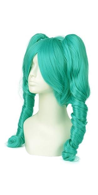 daokai® Cosplay Miku Vocaloid Cielo Azul Color rizos. Completo peluca Dos pferdeschwänzen 65 cm/25.59in con Costes Tapa: Amazon.es: Zapatos y complementos