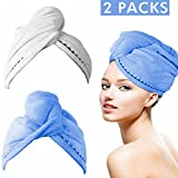 Bleaching Hair Using Cap - Eastshining Microfiber 2 Pack,Quick Dry Hair Towel Wrap Turban with Buttons, Super Absorbent Wrapped Bath Cap Hat for Bath Shower Makeup,24.41 Inch x 9.45 Inch,Easy to Carry (Blue&White)