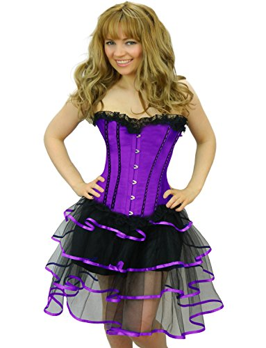 [Yummy Bee Womens Burlesque Corset + Frilly Tutu Skirt Costume Size 14 - 16 Purple Long Rib] (Saloon Girl Adult Womens Costumes)