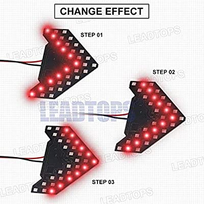 LEADTOPS 2 Pcs 33 SMD LED Arrow Panel lights, Mini Marker Clearance Light For Car Rear View Mirror Indicator Turn Signal Light Bulb (Red): Automotive