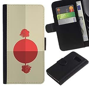 NEECELL GIFT forCITY // Billetera de cuero Caso Cubierta de protección Carcasa / Leather Wallet Case for Samsung Galaxy S6 // Salida del sol africana abstracta