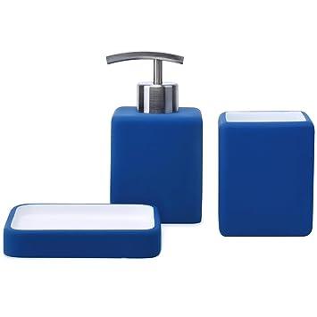 . Satu Brown Bathroom Accessories Set Bathroom Soap Dispenser  Tumbler  Soap  Dish 3 Pieces Bathroom Sets for D cor and Home Gift  Cobalt Blue