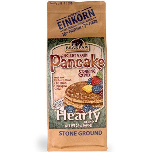 Bearpaw Ancient Grain Pancake Mix, Hearty Blend (24 oz), High Fiber Einkorn Bran, Oat Bran, BearpawGrains 861262000388 -