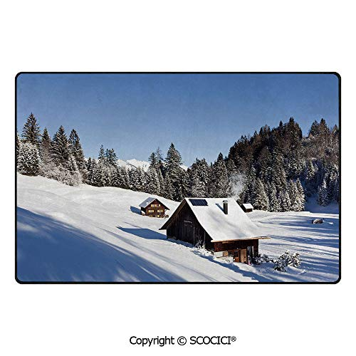 Soft Long Rug Rectangular Area mat for Bedroom Baby Room Decor Rectangle Playhouse Carpets,Winter,Log Cabins in The Mountains Sunny Winter Day Rural Sc,60