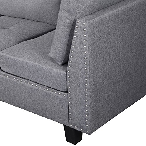 Harper & Bright Designs Contemporary 3 Piece Sectional Sofa Set with Ottoman and Chaise Lounge Grey Linen Fabric (Grey)