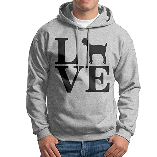 Love Goats Mens Fashion Hooded Sweater | Without Pocket Ash (Mohair Pig)