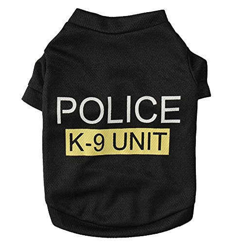 P&Q Estore Pet Clothes Black Dog T Shirt Cut Letter Printed Dog Clothing Small Dogs Clothes Polyester Material Dog Costume Dog Spring Summer Clothes