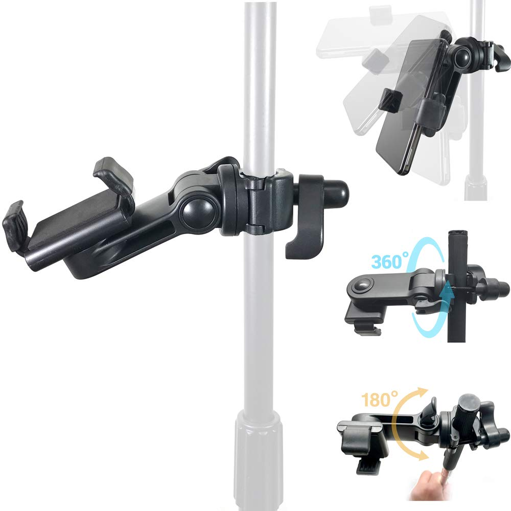 AccessoryBasics Music Boom Mic Microphone Stand Smartphone Mount w/360° Swivel Adjust Holder for All Smartphones up to 3.75 inches Wide (Zoom Video Compatible)