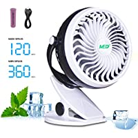 TOMOTO Baby Stroller Mini Battery Operated Clip Fan,Small Portable Fan Powered by Rechargeable Battery or USB Desk Personal Car Gym Workout Camping,Black-White