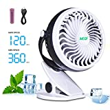 Baby Stroller Mini Battery Operated Clip Fan,Small Portable Fan Powered by Rechargeable Battery or USB Desk Personal Car Gym Workout Camping,Black-White