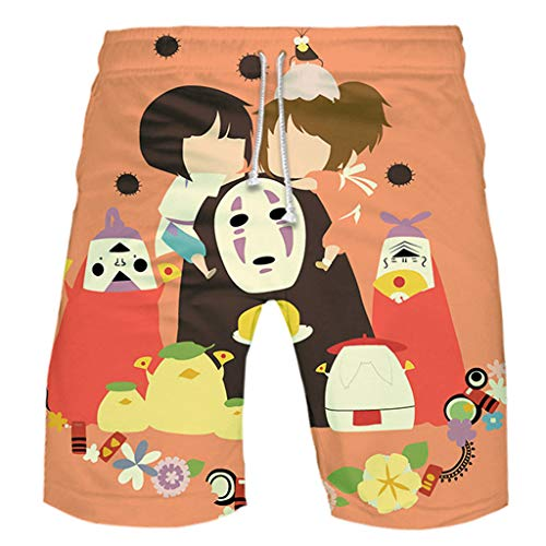 Anime Spirited Away 3D Printed Unisex Swim Trunks Beach Shorts Bathing Suit Board Shorts Drawstring Elastic Waist Pants
