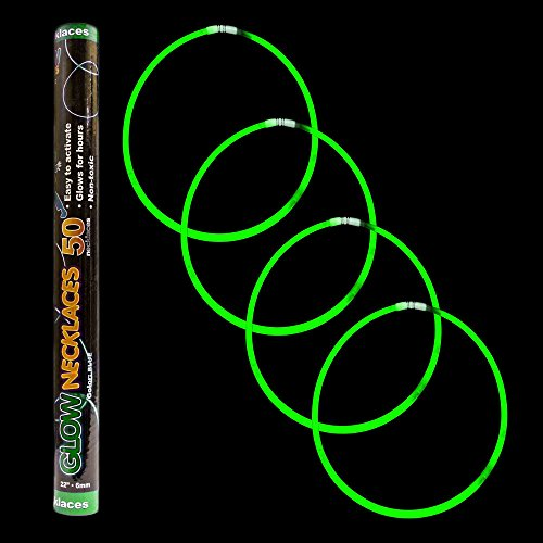 "Fun Central S7 22"" Premium Glow Stick Necklaces, Glow in the Dark Necklace, Glow Necklaces Bulk, Glow Sticks Bulk, Super Bright Green, 50 ct"