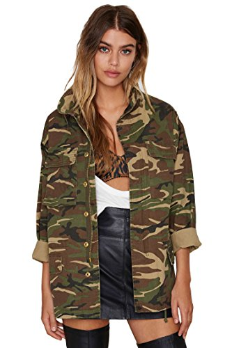 Escalier Women`s Military Camo Jacket Zipper Causal Camoflage Utility Coat Camo (Camo Utility Jacket)
