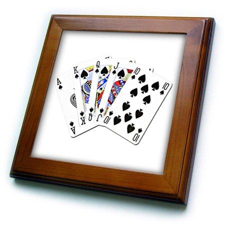 (3dRose 3D Rose Poker. Royal Flash. Spade. White. Popular Image. - Framed Tile, 8 by 8-inch (ft_218692_1))