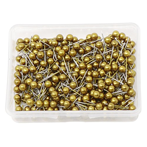 VAPKER 1/8 Inch Map Tacks Round Plastic Head Push pins with Stainless Point(Box of 300 Gold Color pins) (Canvas Gold Map)