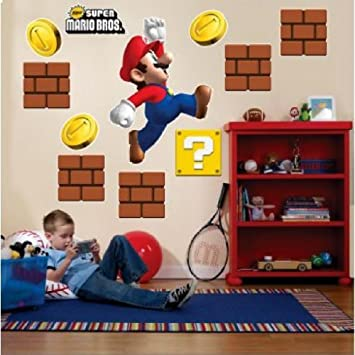 Super Mario Bros Riesen Xxl Wandtattoo Set Mega Wandsticker Amazon