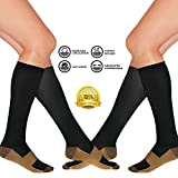 2 Pair Copper Infused Compression Socks Black Knee High Unisex Anti Odor Nursing Compression Socks by Juniper's Secret